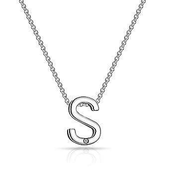 Initial necklace letter s created with swarovski® crystals