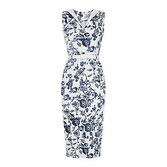 Collectif Vintage vrouwen ' s uitgerust wit & blauwe Toile print Helen jurk