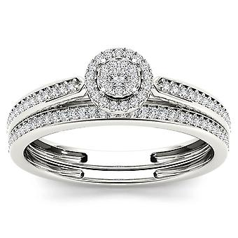 Igi certified 10k white gold 0.25 ct diamond bridal ring set