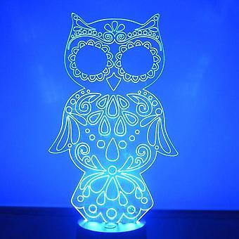 Dekorative ugle farge skiftende LED akryl lys
