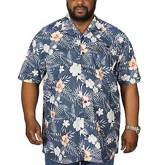 D555 Mens Raymond Big Tall King Size Floral Short Sleeve Button Down Shirt -Navy