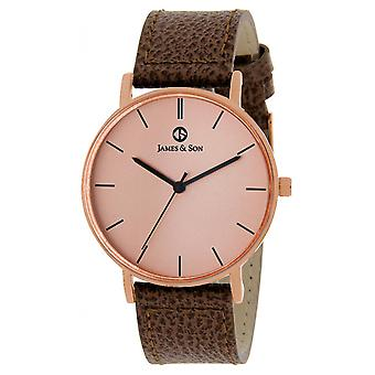 James And his JAS10081 812 - watch Leather Brown man
