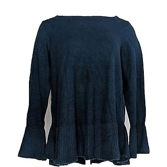 Style et Cie. Femmes plus Sweater Solid Ruffle Pull-Over Blue