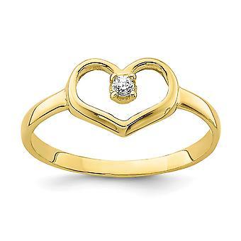 10k CZ Cubic Zirconia Simuleret Diamond Love Heart for drenge eller piger Ring