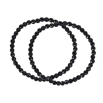 Fashion 4mm Set Of 2 Black Faceted Simulated Onyx Stretch Bracelet Sieraden Cadeaus voor vrouwen