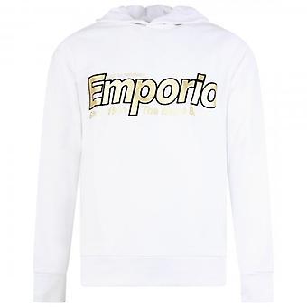 Emporio Armani Noir Over-Head Sweatshirt Hoody Blanc 6G1MF8