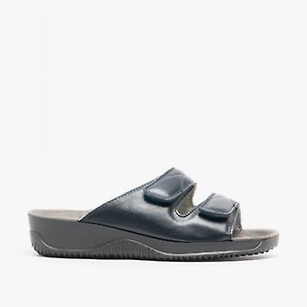 Rohde 1940 Ladies Leather Mule Sandal Navy