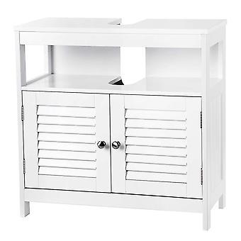 Waschbeckenschrank mit 2 Türen und offener Box-weiß