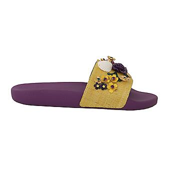 Dolce & Gabbana Purple Crystal Beachwear Slides