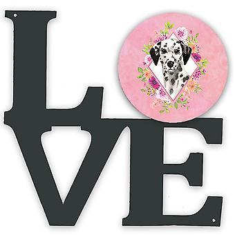 Carolines Treasures  CK4242WALV Dalmatian Pink Flowers Metal Wall Artwork LOVE