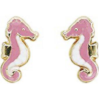 Ohrringe;Ohren rosa Seepferdchen Laquie gold 750/1000 gelb (18K)