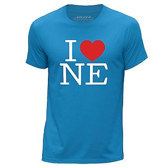 STUFF4 Men's Round Neck T-Shirt/I Heart NE / Love Nebraaska/Blue