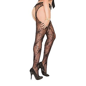 Womens Plus Size Floral Lace Pantyhose Suspender Style Open Crotch Hosiery