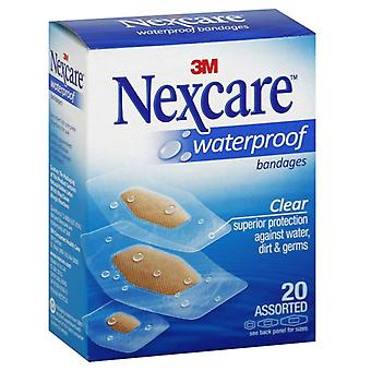 Nexcare waterproof clear bandages, assorted, 20 ea