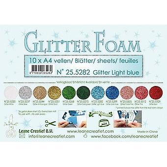 Leane Creatief Glitter Foam Sheets A4 Glitter Light Blue