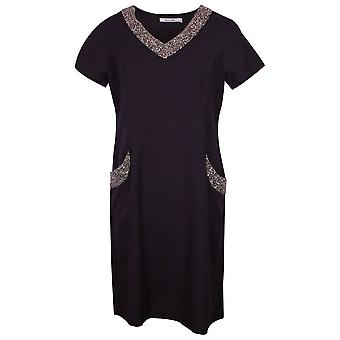 Alice Collins Navy Charlotte Style Short Sleeve Linen Dress With Beaded V Neck