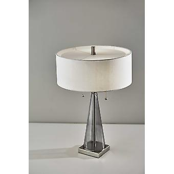 Sleek Tapered Base Steel and Smoky Glass Table Lamp