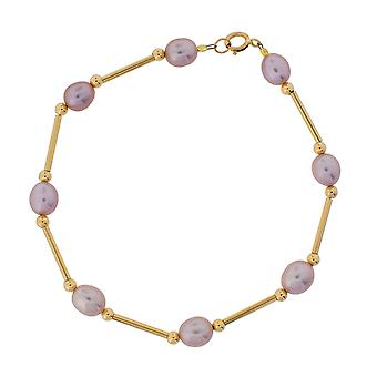 TOC 9ct Yellow Gold Lilac/Pinky Oval Freshwater Cultured Pearl Bracelet 8