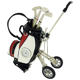 Miniature Red/White Golf Cart & Club Pens Collectors Clock Gift Set IMP431RW
