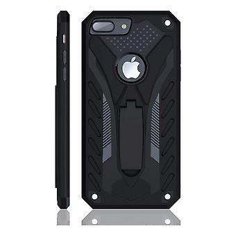 For iPhone 8 PLUS Case, Armour Strong Shockproof Tough Cover Kickstand Black