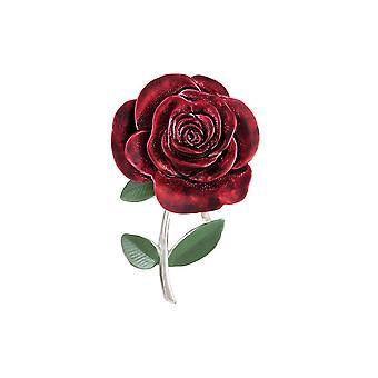 Eternal Collection Red Red Rose Enamel Silver Tone Brooch