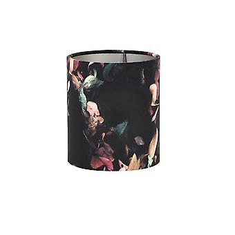 Light & Living Cylinder Shade 15x15x17.5cm VELOURS Hydrangea Black