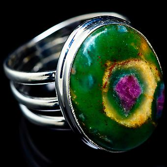 Ruby Fuchsite Ring Size 7.75 (925 Sterling Silver)  - Handmade Boho Vintage Jewelry RING5415