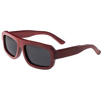 Earth Wood Daytona Polarized Sunglasses - Red Rosewood/Black
