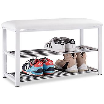 3-Tier Hallway Bench Shoe Rack Stand Seat Organiser With Upholstered Seat White