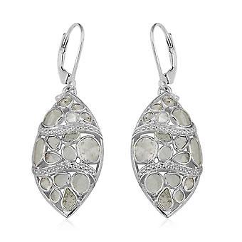 GP Diamond Drop Bungelen Oorbellen Platinum Over Sterling Silver Blue Sapphire