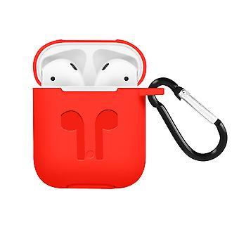 Apple AirPods (1. und 2. Gen) Silikon Schutzhülle mit Karabinerhaken – Rot