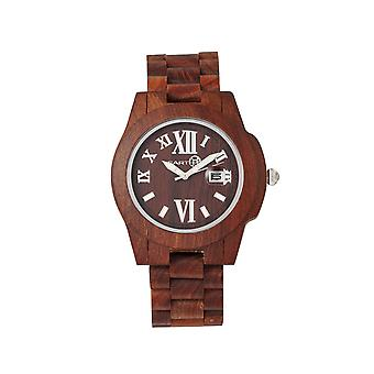 Tierra madera duramen pulsera reloj w/fecha - rojo