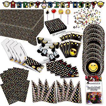 Emoticon emoji Party set XL 84-bucata pentru 8 oaspeți Emoparty ziua de naștere decorare petrecere pachet