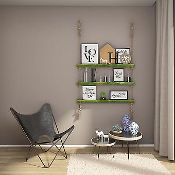 Halatli Regal grüne Farbe, Ecru Holz, Juta, L100xP9xA125 cm