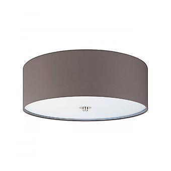 Textile Ceiling Lamp Pasteri 3 Bulbs Satin Nickel Anthracite Brown Shade