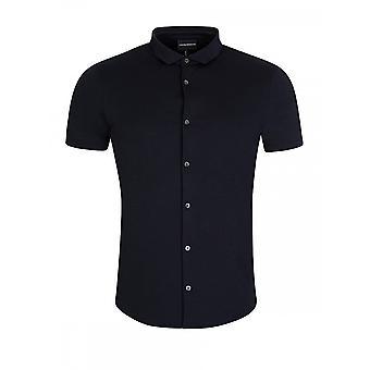 Emporio Armani Cotton Buttoned Down Navy Polo Shirt