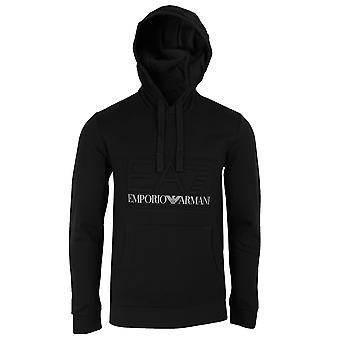 Ea7 emporio armani men's black raised logo hoodie