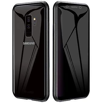 Mobiele behuizing in dubbelzijdig gehard glas voor Samsung Galaxy S9 Plus - zwart
