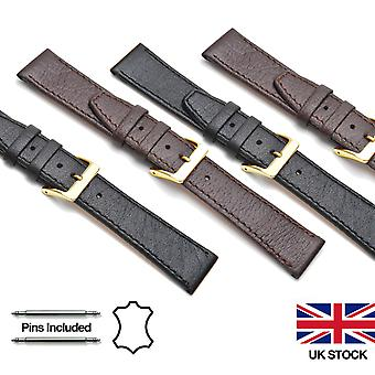 Genuine Buffalo Grain Leather and Nubuck Lined Watch Straps - Select Options