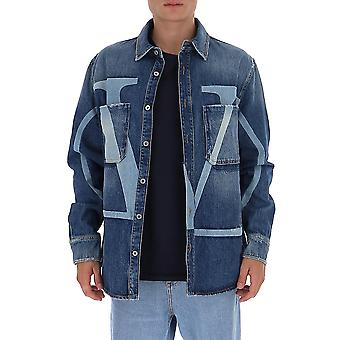 Valentino Uv3db00g6h5598 Herren's blaues Baumwollhemd