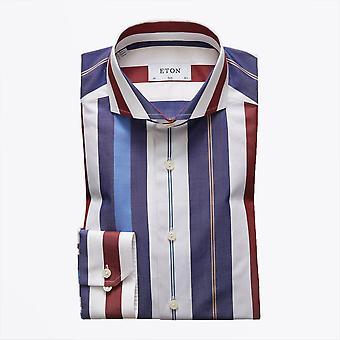 Eton - Cotton Bold Stripe Shirt - Blauw/Multi