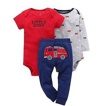 3Pcs Baby Outfit,Bodysuit, Top And Pants -Hunk And Truck