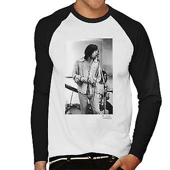 Rolling Stones Mick Jagger Apple Studios London White Men's Baseball Long Sleeved T-Shirt