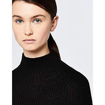 Meraki Women's Chunky Wool-Blend Turtleneck Sweater, Black, EU XXXL (US 18)