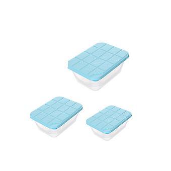 Caixa de armazenamento da geladeira de 3 peças Pequena média grande azul quadrado
