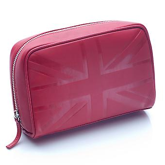 Boîtier cosmétique moyen en cuir Britannique rouge