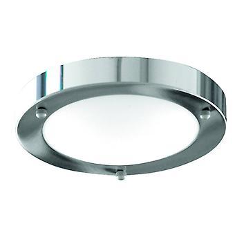 Searchlight Badkamer Flush - 1 lichte badkamer Flush Ceiling Light Chrome Ronde met koepelvormige Glazen Diffuser IP44, E27