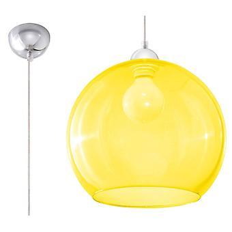 1 Licht glazen koepelplafondhanger geel, chroom, E27