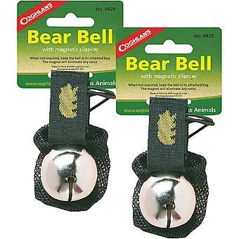 Coghlan's Bear Bell w/ Magnetisk ljuddämpare & Bärremssäkerhet (2 Pack), Silver