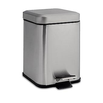 Square Steel Bathroom Pedal Bin - 3 Litres - Brushed Metal